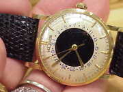 Lecoultre Man's Solid 14k Yellow Gold Vintage Watch 32 Mm Original Box