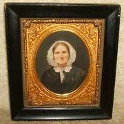 Late 1800and039s Framed Hand Painted Or Colored Portrait Of Woman Signed Lit Brothers
