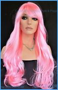 Long Wig Flowing Soft Waves Sexy Color Cherry Blossom Pink Fast Ship 1337