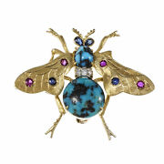 Vintage Bee Pin Natural Turquoise Ruby Sapphire And Diamond 18k Yellow Gold