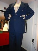 Vintage Menand039s Suit Navy Blue Waffle Poly With Anchor Buttons 44 Chest 38waist