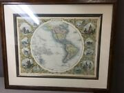 Framed Matted J. And F. Tallis Map Of The Western Hemisphere 1850