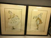 Pair Of Vintage Fashion Paintings On Silk From Carson Pirie Scott And Co.