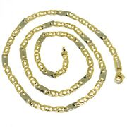 18k Yellow White Gold Chain Eye And Plate Alternate Link 20 Inches Italy Made