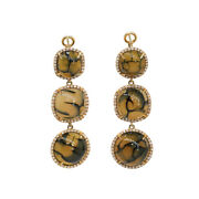 18k Yellow Gold Diamond And Snake Agate Drop Earrings