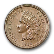 1860 1c Pointed Bust Indian Cent Uncirculated Mint State Ms Sharp R1137