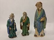 Lot Of 3 Chinese Mud Men Porcelain Ceramic Figurines Statues Hand Painted Robes