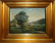 Peter Ölsted 1824-1887 Woman On A Path Along River. Antique Beautiful Oil