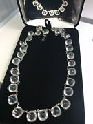 Vintage - Rare - Russian - Natural Rock Quartz Faceted Crystal Riviere Necklace