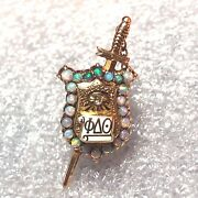 Antique 1900 14k Solid Gold Phi Delta Theta Fraternity Pin Badge W/opals