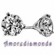1.06 Carats F Vs Round Ideal Cut Diamond Solitaire Stud Earrings 18k White Gold