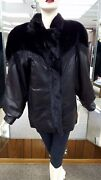 Clearance Leather Jacket With Ranch Mink Fur And Mink Sections Liner - Size 12
