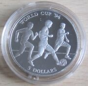 Cook Islands 5 Dollars 1991 Football World Cup In The Usa Silver