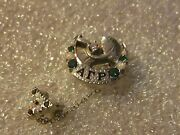 14k Solid White Gold Alpha Gamma Rho Fraternity Pin W/emeralds And Opals Diamond