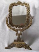 Old / Antique Brass Frame Free Standing Mirror 16 Tall