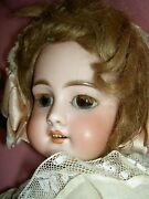 French Antique Bisque Dep 6 Jumeau Doll, Pierced Ears, Wood Body, Signed Shoes