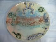 Dan Tolkoff 1980and039s Signed Abstract Multi-color Platter - Wall Hanging