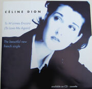 Celine Dion Display Card Tu M'aimes Encore To Love Uk Promo Only Rare 12 Poster