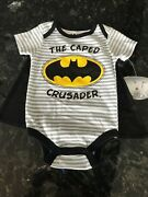 Nwt Batman The Caped Crusader One Piece T-shirt With Cape 3-6 Months