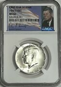 1964 D Ngc Ms66 Silver Kennedy First Year Of Issue Jfk Coin Signature Label 50c