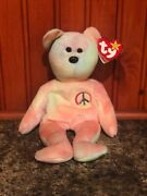 Retired 1996 Peace Ty Beanie Baby In Excellent Condition With Tags Attachedandnbsp