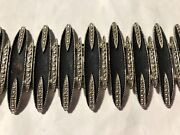 Vintage Art Deco Style Black And Silvertone Bracelet With Safety Chain