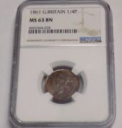 Great Britain 1861 Farthing 1/4p Ngc Ms 63 Bn Ms63 British Unc Certified Coin