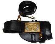 American Civil War Union Officers Leafed Leather Sword Belt And Square Buckle,