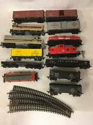 Lot Of 13 Vintage Erie Lackawana Toy Trains Logger Engine Cabooses And More