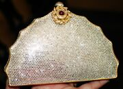 Judith Leiber Museum Crystal Chinese Fan Web Clutch Shoulder Bag Pearl
