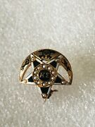 Antique 14k Solid Gold Kappa Sigma Fraternity Pin Badge W/seed Pearls