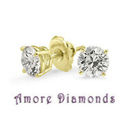 1.04 Ct F Si2 Round Diamond Solitaire Stud Earrings 18k Yellow Gold Screw Backs