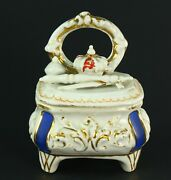 Antique Victorian Conta And Boehme German Porcelain Fairing Box, Crown And Sceptre