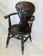 Antique Quarter Sawn Oak Single Arm Chair With Carved Laughing Face