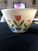 Vintage Fire King Oven Ware 9.5 Diameter Tulips Mixing Bowl Some Paint Loss