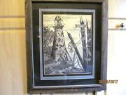 Tony Ryals Lighthouse Print Triple Matted Done By Mouth Wood Frame Signed E