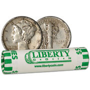 90 Silver Mercury Dimes - Roll Of 50 - 5 Face Value