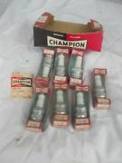 7 Vintage Champion Spark Plugs And Nib Boxes Ford Type F-9y