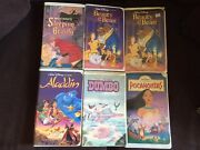 Vintage Rare Disney Black Diamond Vhs Tapeand039s Beauty And The Beast 1992 Lot Of 6