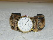 Vintage Gruen Pre-owned Cuff Watch Sterling Lg 1/2012k.g.f. Gold Tone/feathers