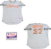 Giancarlo Stanton Unsigned Miami Marlins Game Used Jersey Mlb