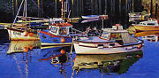 Original Oil Painting A Group Of Colorful Fishing Boats Listed Artist Nr