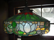 Antique Leaded Glass Hanging Shade Fair Condition