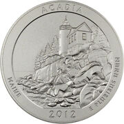 2012-p Us America The Beautiful Five Ounce Silver Uncirculated Coin - Acadia