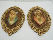 Old Vintage Pair Jesus And Mary Wall Hanging Palques Chalkware M.a.c.