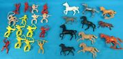 Vintage Tim-mee And Bergen Toy Co. Cowboys And Indians Lot Of 16 Figures 11 Horses