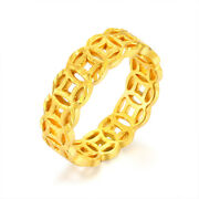 Solid 24k Yellow Gold Ring 3d Coin Shape Unisex Ring Size 7 1/2 Best Gift
