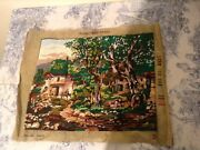 Vintage French Embroidery Tapestry Country House Garden Cushion Upholstery 1717