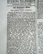 Outlaw Jesse James Younger Gang Rock Island Winston Train Robbery1881 Newspaper