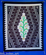 Navajo Indian Weaving Tree Of Life Pictorial Rug W/hooks - Contemporary C 1980
